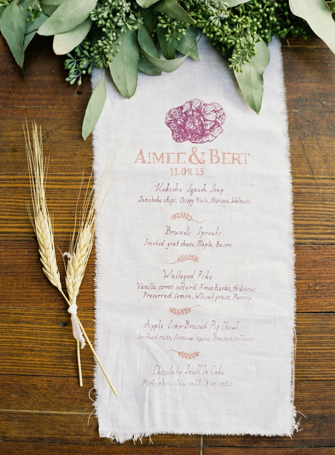 Custom Wedding Menu by Quelcy // www.Quelcy.com
