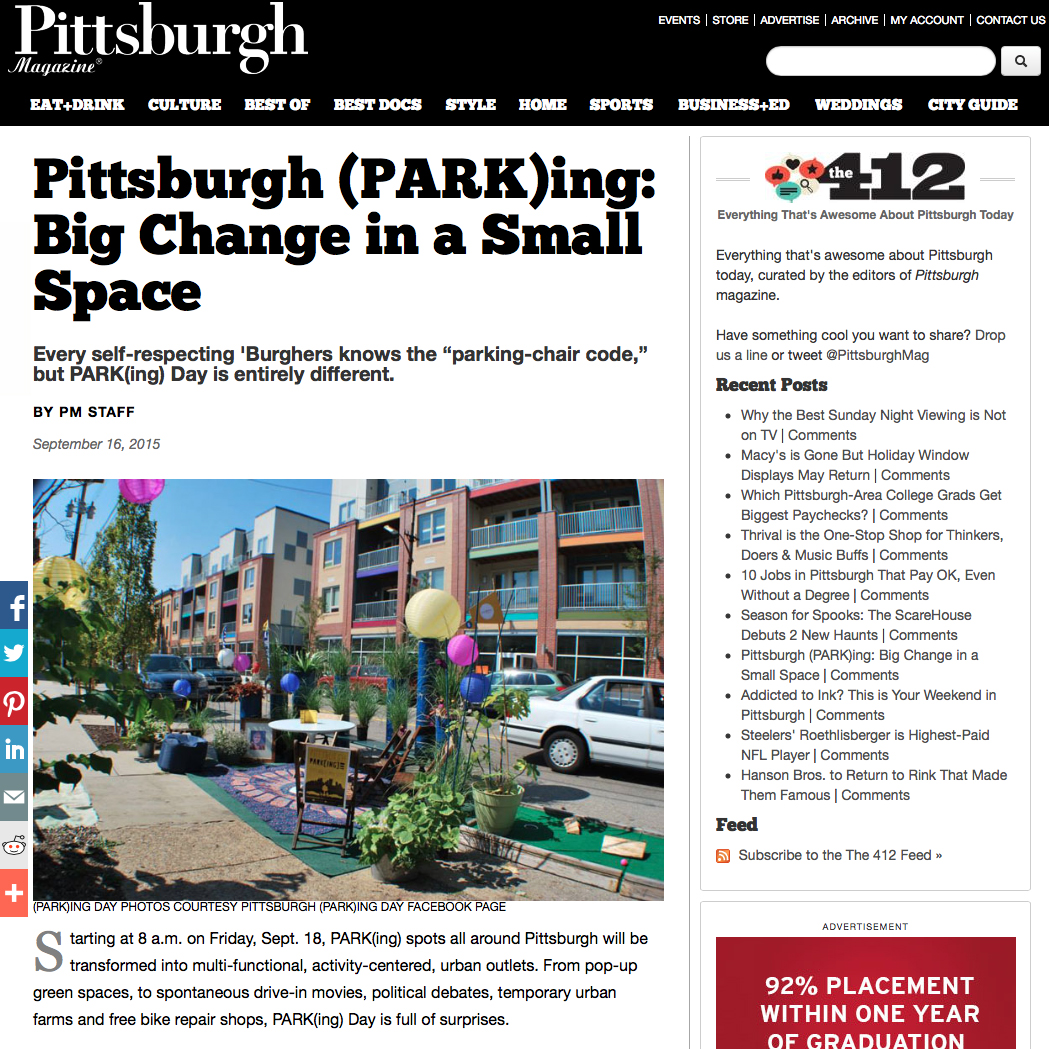 PARK(ing) Day featured in Pittsburgh Magazine // www.Quelcy.com